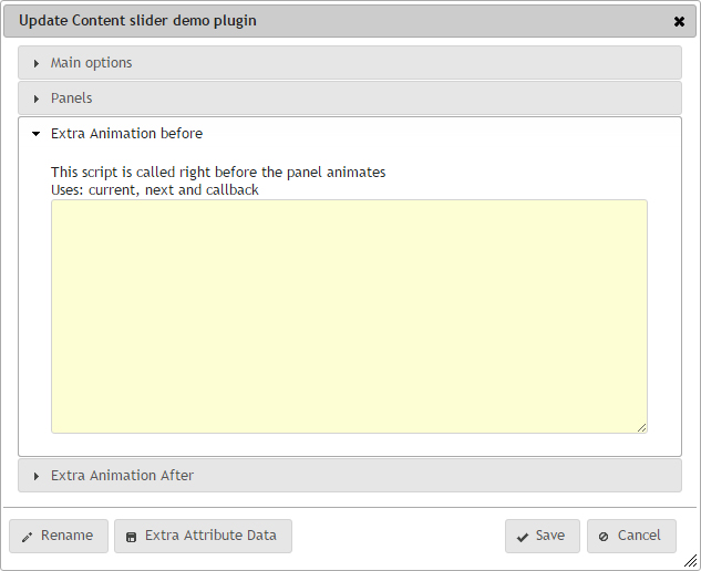 Content slider plugin update dialog extra animation