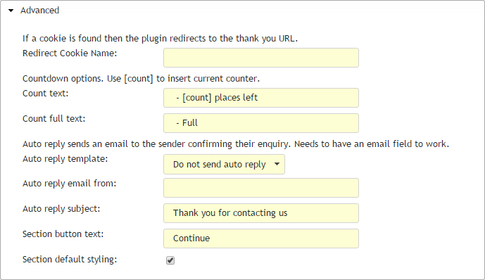Contact form update dialog advanced section