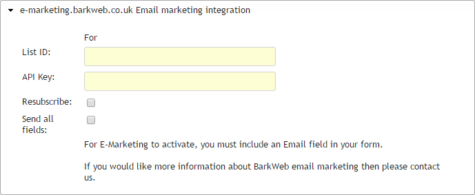 Contact form update dialog emarketing integration section