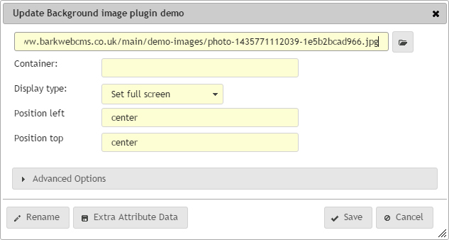Background image plugin update dialog