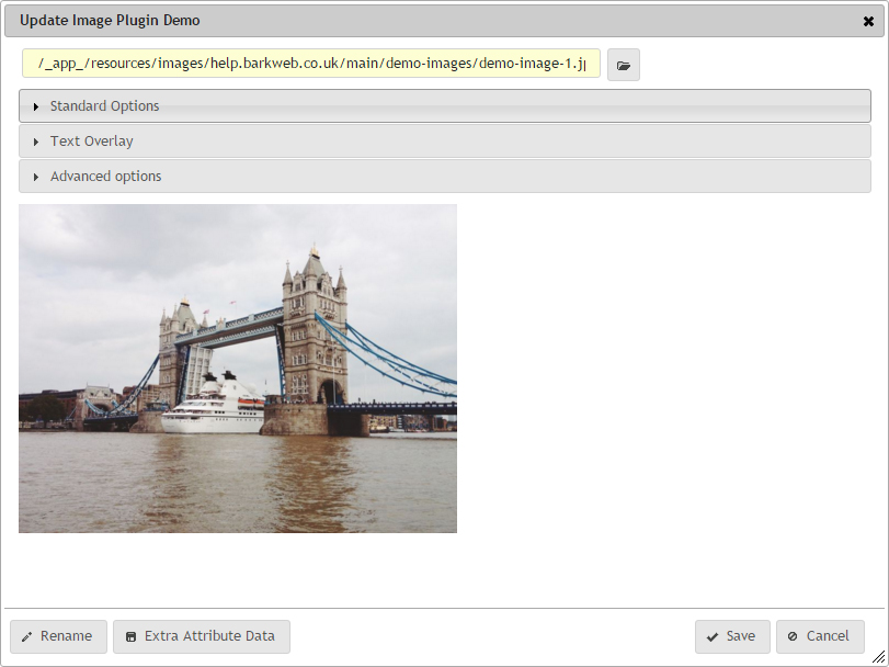 Image Plugin update window dialog